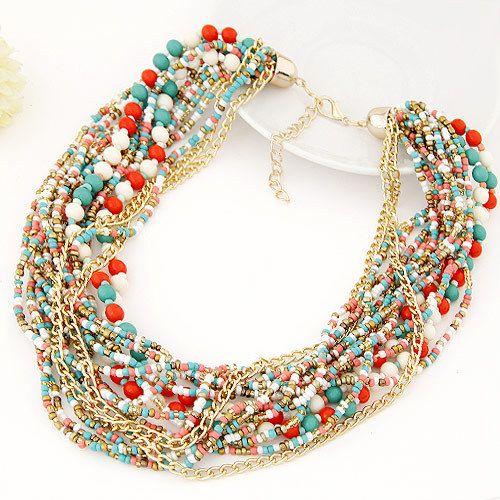 Бижутерия : Многослойное ожерелье из цепочек, бисера и бусин