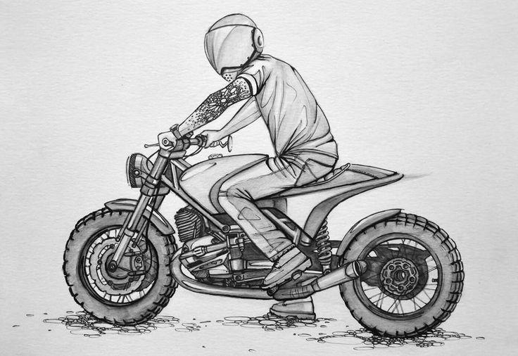 картинки карандашом мотоциклистов на мотоцикле это изобретение, которое
