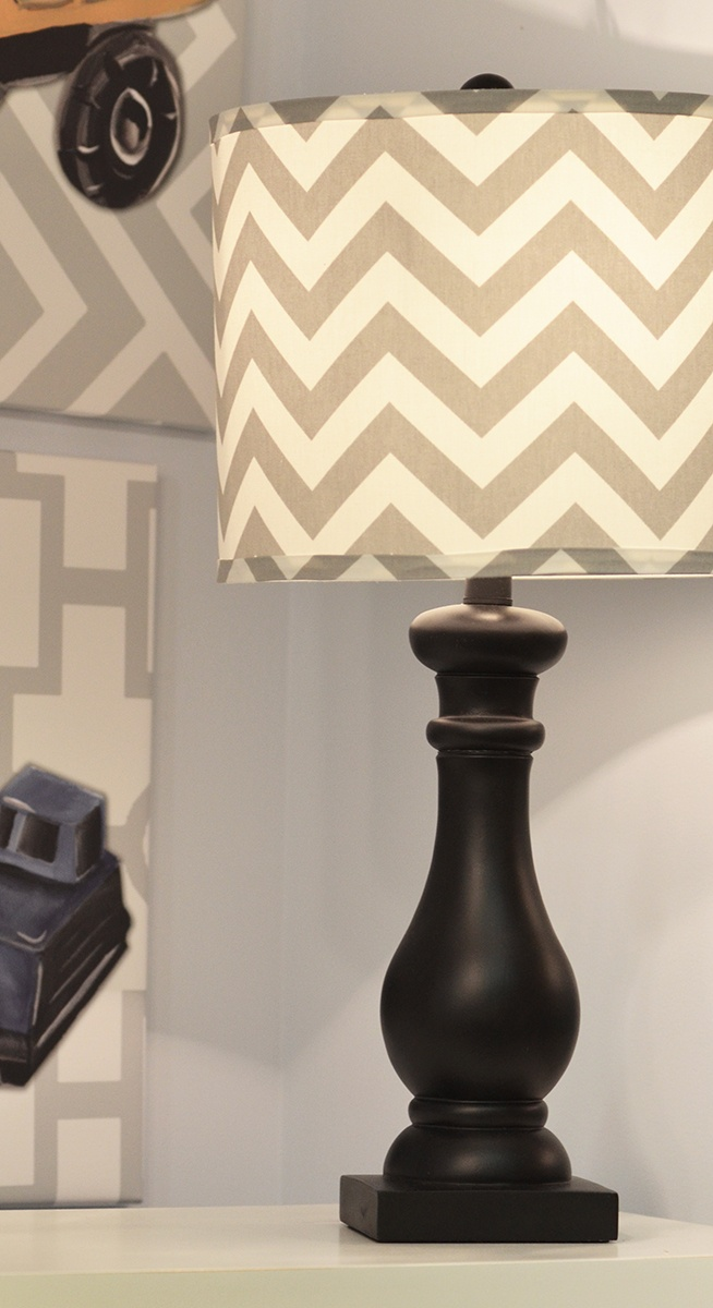 Perfect Chevron Lamp Shade With Black Lamp Base And Cool Vintage Toy Artwork From  #Doodlefishkids.