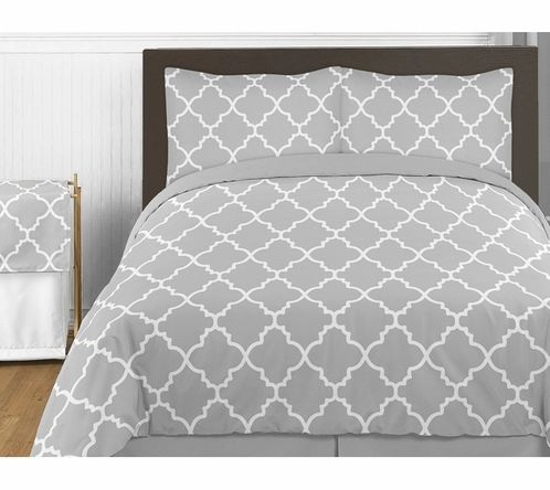 "Gray and White Trellis 4pc Childrens and Kids Twin Bedding Set by Sweet Jojo Designs - Click to enlarge $99 ships out Aug 25  Twin 86""x 62"""