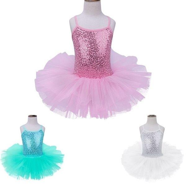 Kids Girls Ballet Sequined Leotard Tutu Dress Ballerina Fairy Dancewear Costume