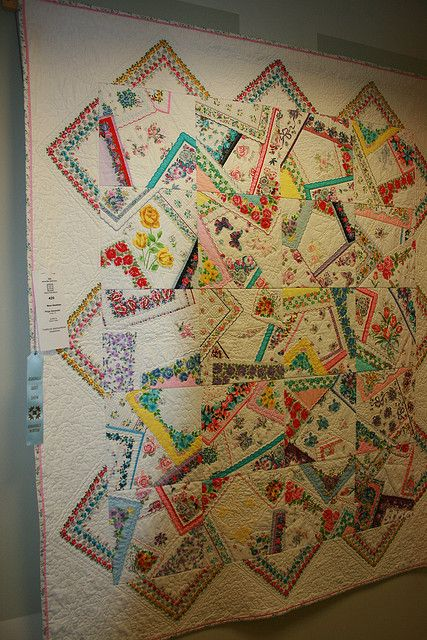Wonderful, fun way to make a quilt from vintage handkerchiefs!