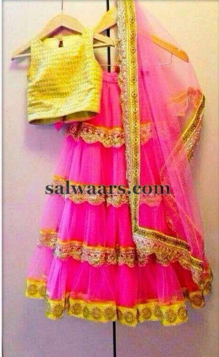 Lace Half Saree in Pink
