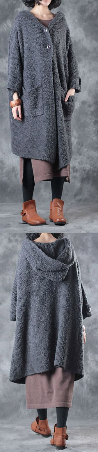 winter gray sweater cardigans oversize thick knit trench coats