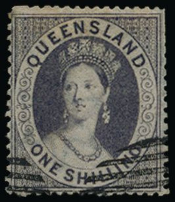 QUEENSLAND 1860 SG10 Specimen 1860-61 1s violet, wmk small star, clean-cut perf 14-16, with crisp part strikes of the Perkins Bacon '(CANCELLED)' barred oval which leave the portrait clear. Slightly trimmed perfs at upper right but a beautiful and fascinating stamp of the highest rarity, being pos. 2 of an original block of 6 (3x2) for presentation to Rowland Hill's family, and one of only two recorded in private hands (plus a third in the Royal Collection). Ex Jaffe (realised A$11,500 in…