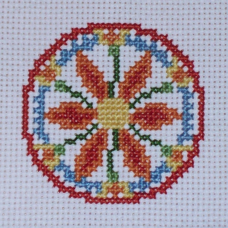 Good Health Hex Sign Cross Stitch. 6 rosette as a flower so that's success of nature. additional buds for continued growth, blue waves for water, i would use this to aid someone's garden or agriculture - TLM