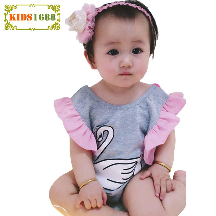 2017 Newborn Girl Clothes Romper Summer Cartoon Swan Pattern Baby Jumpsuit Fashion Short sleeve Infant Romper For Girls Baby