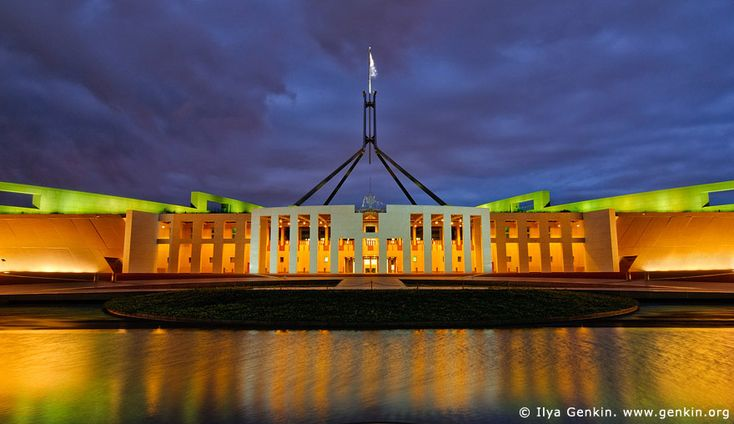 Parliament House at Night, Capital Hill, Canberra, ACT, Australia