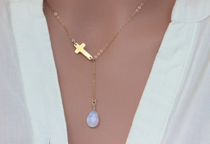 Cross Necklace, Sideways cross Necklace, Gold Opal cross necklace, Celebrity Cross  necklace, personalized Birthstone necklace,Cross Lariat by rainbowearring1 on Etsy https://www.etsy.com/listing/247868951/cross-necklace-sideways-cross-necklace