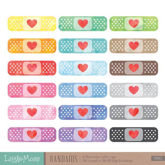 Watercolor Bandaids Clipart Bandage Clipart Plaster Clipart