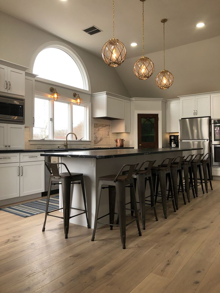 Nautical kitchen with island seating 9. Leathered ...