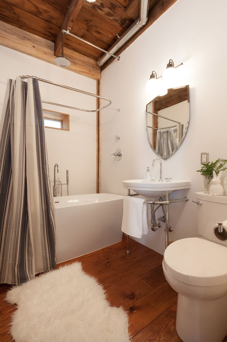 Updated Bathroom In A Century Old Building Love The Floors And Ceiling