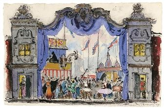 STAGE DESIGN FOR 'PETROUCHKA', SCENES 1 & 4 (1947) By Alexandre Nikolaïevitch Benois