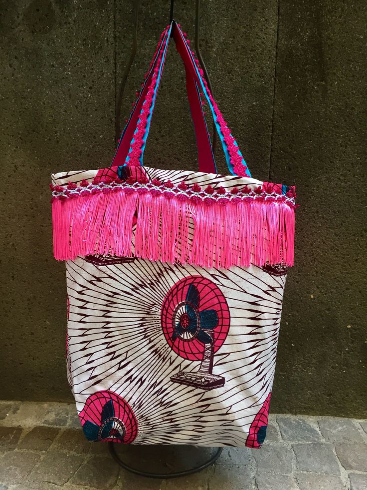 African fabric tote, textile boho purse, embellished fringe bag cotton sac by vquadroitaly on Etsy
