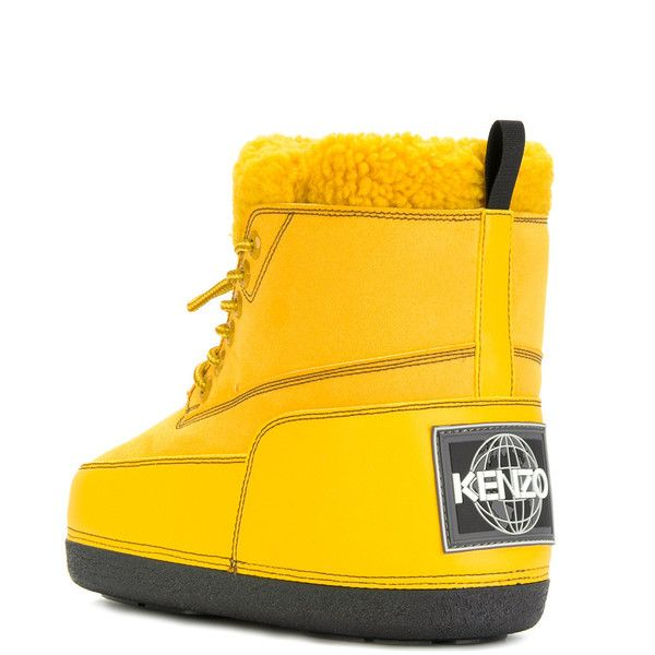 Kenzo snow boots ($264) ❤ liked on Polyvore featuring shoes, boots, high ankle boots, ankle length boots, yellow shoes, rubber sole boots and flat lace-up shoes