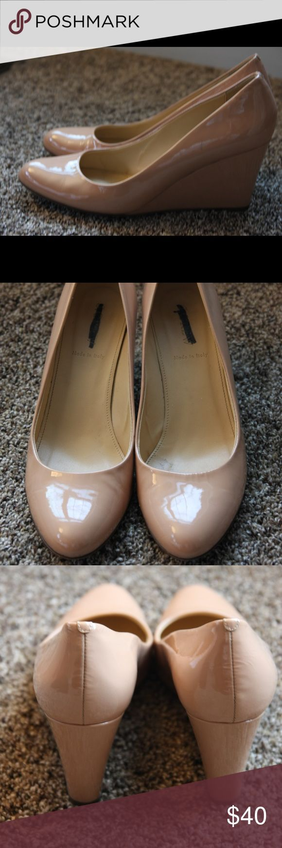 J. Crew Martina patent wedge heel Blush sz 8.5 JCrew Martina patent leather wedge heel in blush color. Size 8.5. Covered wedge heel, round toe, leather soles and uppers, 2.5 inch heel. Scuff on the side near the toe in one shoe (see photo). These were purchased from the warehouse, so the j crew tag on the sole was marked by the store, but these are NOT j crew factory shoes. Only worn 5-7 times. In excellent condition J. Crew Shoes Heels