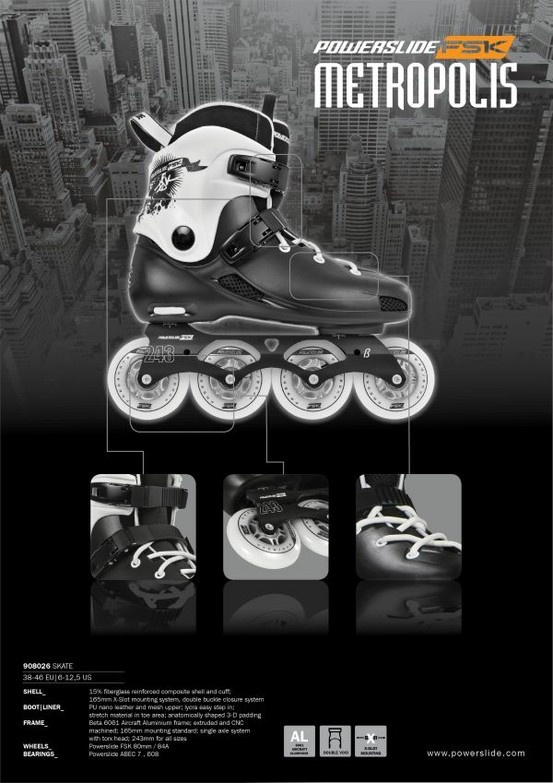 Powerslide Metropolis freestyle skate (unisex) - classic freestyle skate. 243mm freestyle-length double void 606 aircraft-grade aluminium frame. Powerslide ABEC 7 bearing with Japanese-made synthetic oil for faster spin. Powerslide FSK 80mm super high rebound wheels. Now with 10% off at $349.20, usual $388