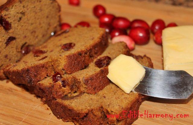 Grain-Free Pumpkin Cranberry Bread - Edible Harmony