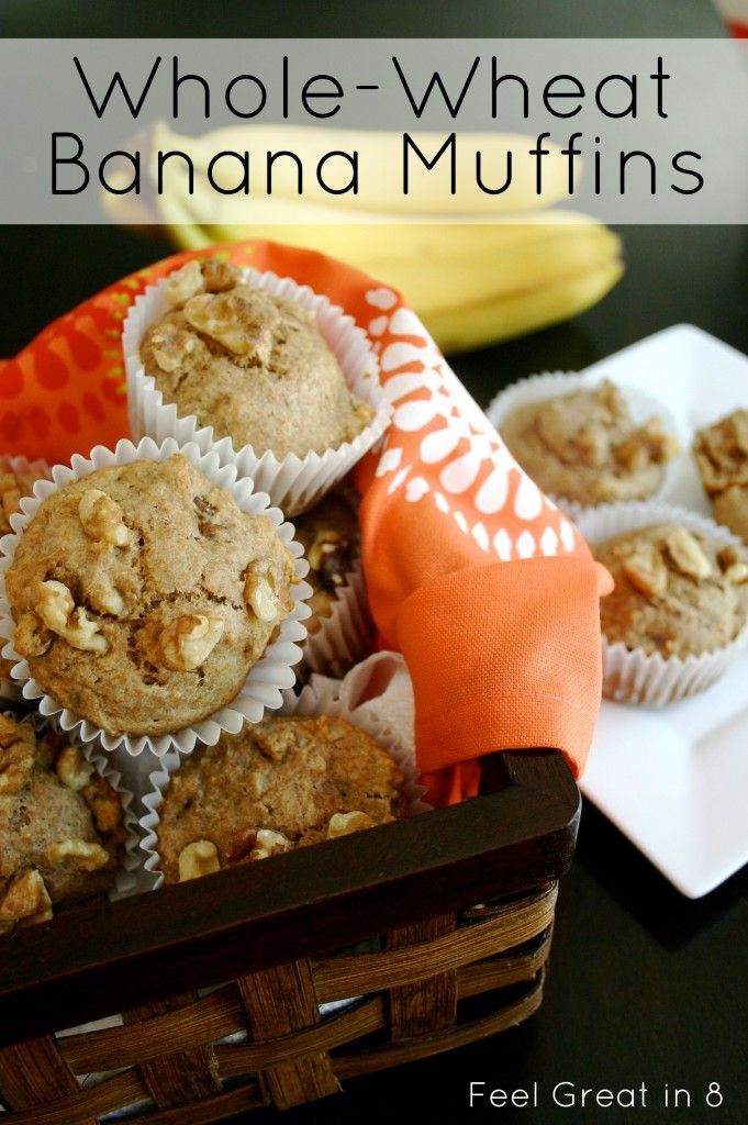 Whole-Wheat Banana Muffins - these muffins are low calorie and have no refined sugar. They freeze well and make a healthy, quick breakfast! Feel Great in 8
