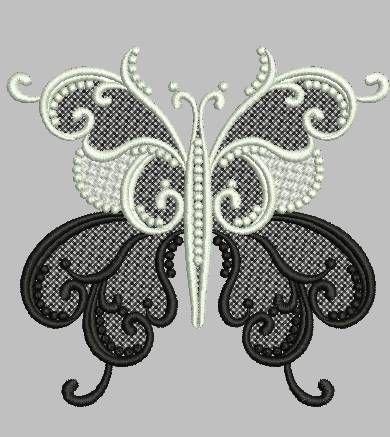 бабочка, кружево, бесплатный дизайн машинной вышивки