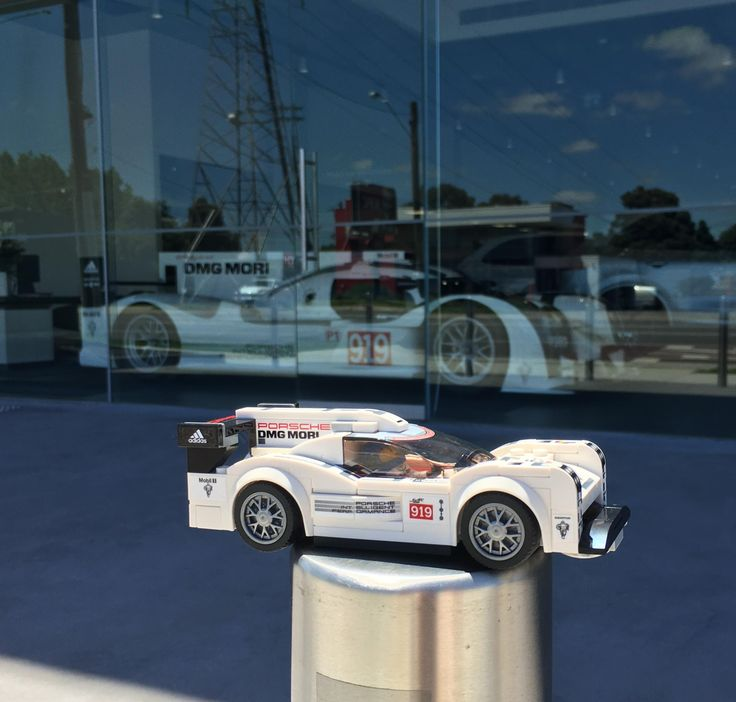 Lego Porsche 919 Hybrid in front of the local dealership #Porsche #porsche911 #porschelife #cayenne #cars #car