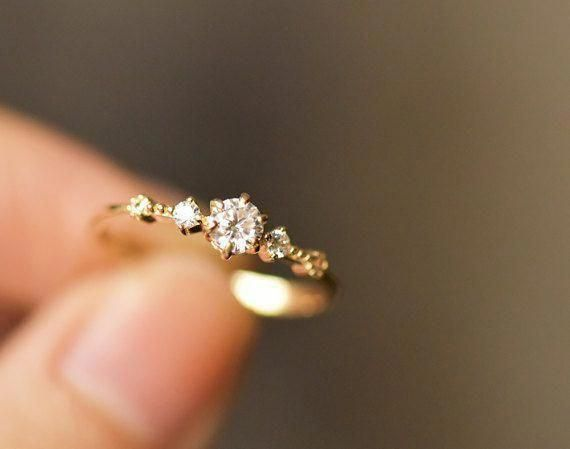 14k Solid Yellow Gold Engagement Ring Simple Engagement