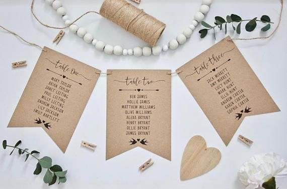 PRINTED Rustic Wedding Table Seating Plan Cards In Bunting