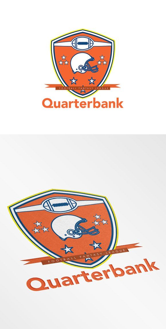Quarterbank American Football Logo Templates Quarterbank American Football Fantasy Team. Logo showing illustration of an american football helme by patrimonio