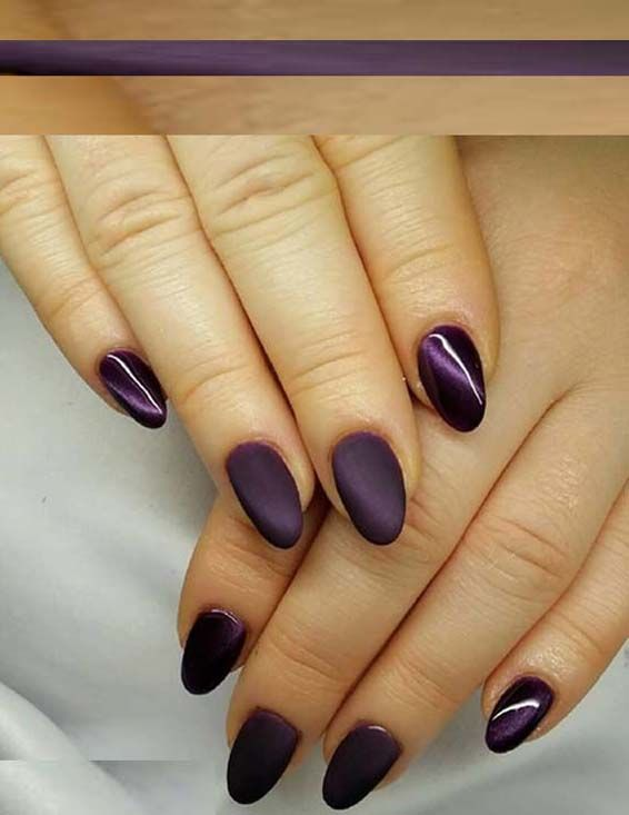 33 Cute Dark Purple Nail Art Designs to Try in 2018