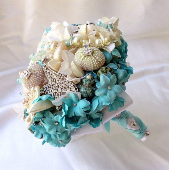 Tiffany Blue Bridal Brooch Bouquet SeaShell wedding by BoHoBridal, $300.00
