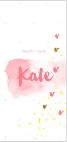 Uniek langwerpig geboortekaartje voor een meisje! Met licht roze watercolour streep met stippen patroon en hartjes met goud folie en geel confetti snippers! Zelf aan te passen. Enveloppen zijn los bij te bestellen.