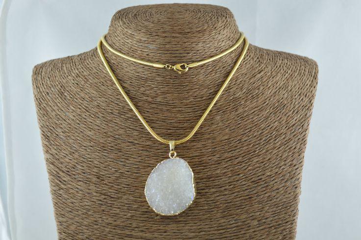Природный Druzy кристалл с цвета радуги ожерелье Drusy Geode 26 дюймов змея цепочка