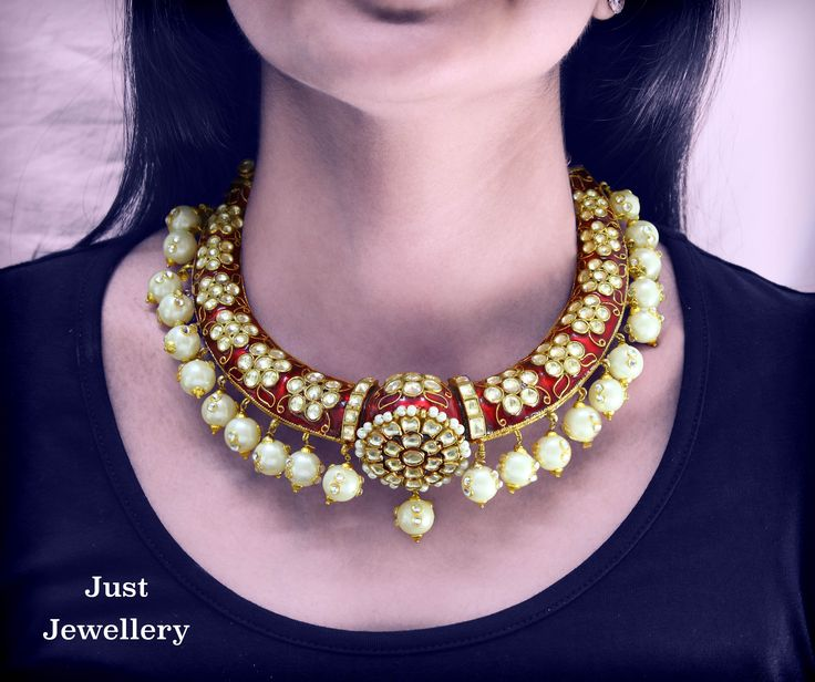 The Hasli is a very popular Rajasthani Traditional piece. We at Just Jewellery bring you this intricately done piece with pearls to complete your gorgeous look! Price: Rs.22,000/- Place your order by sending us an email to justjewellery08@gmail.com