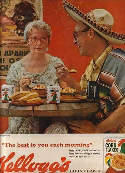 """His wife is thinking, """"This is the best?""""  (Kellogg's Corn Flakes, 1961)"""