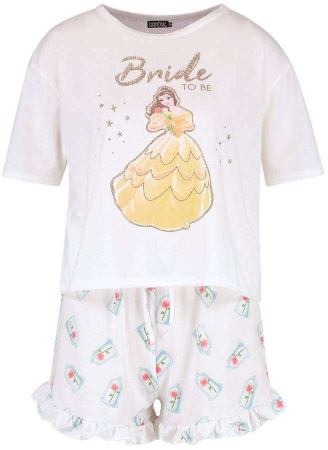 boohoo Disney Belle  Bride To Be  Frill PJ Short Set  Belle Bride ... b28fe08f5