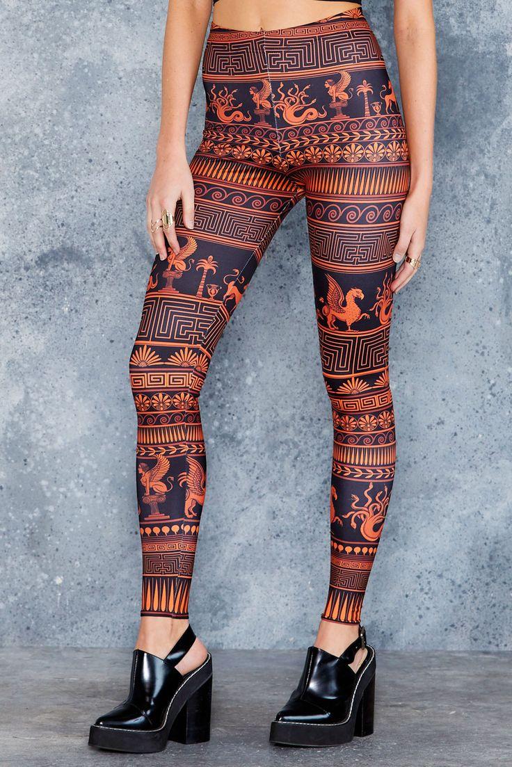 Olympus Orange HWMF Leggings ($75AUD) by BlackMilk Clothing