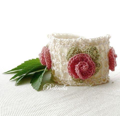 Siesta in the arbor - crochet bracelet, Szieszta a lugasban - horgolt karkötő, Ékszer, óra, Karkötő, Ékszerszett, Meska  2000 Ft