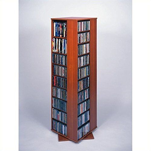 Leslie Dame CD 1040CHY Revolving CD / DVD Storage Tower In Light Cherry