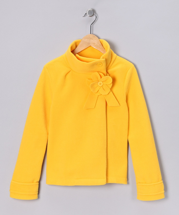 Yellow Flower Polar Fleece Jacket