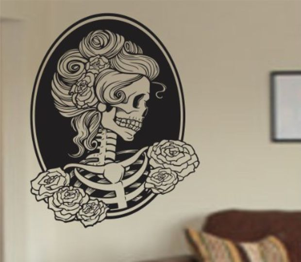 Victorian woman skull wall vinyl decal sticker art graphic sticker sugar skull sugarskull