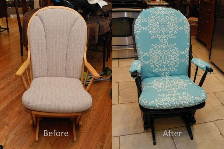 Old Dutailier Glider Makeover - I found this glider rocker at Good Will for $20. I washed the cushions a couple times to get out that Good Will smell. Then I sanded, primed, and painted the chair black and followed this tutorial to recover the cushions and made up my own pattern to made pads for the armrests. http://www.kenjiandjen.com/p/tutorial-recovering-glider-chair.html