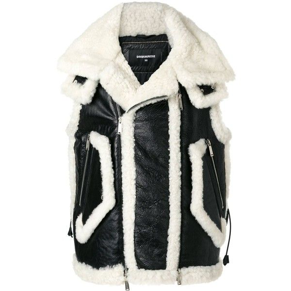 Dsquared2 Shearling Leather Zipped Vest ($2,200) ❤ liked on Polyvore featuring men's fashion, men's clothing, men's outerwear, men's vests, mens gilet vest, mens shearling vest, mens leather vest, mens zip vest and mens padded vest