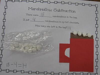 Marshmallow subtraction story. Doing this as a fun wrap-up to our subtraction unit!Grade Math, Marshmellow Math, Holiday Math, Grade Holiday, Addition And Subtraction, Classroom Ideas, Chocolates Math, Marshmellow Subtraction, Marshmallows Subtraction Could