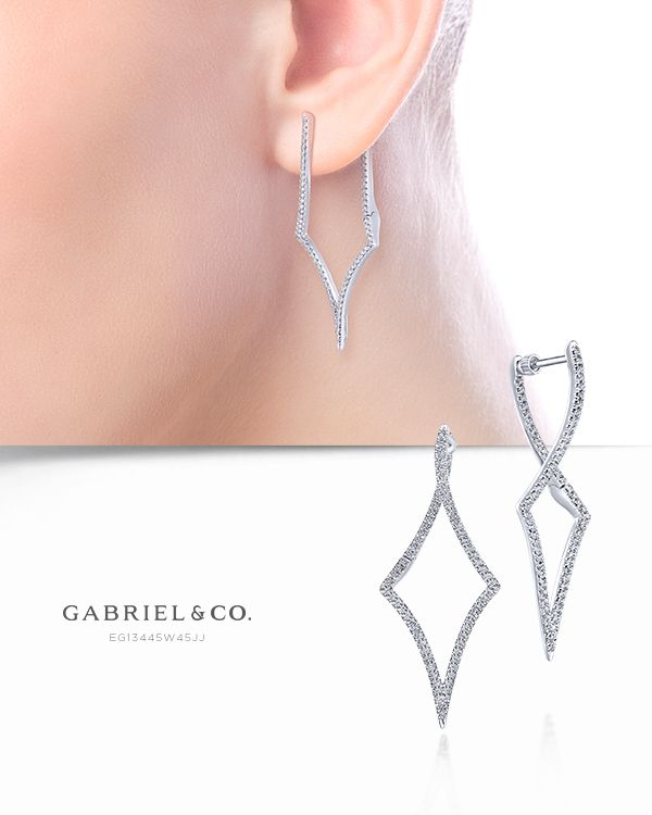 Diamond Earring Sterling Silver Box Chain Diamond Shaped Geometric Mirror Earrings