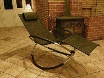 人気!おすすめ おしゃれ!デザイン 家具 チェア!椅子 折りたたみ幅約25cm!憧れのロッキング チェアー バーベキュー ベランダ海 プール に! オレンジリクライニングチェア!