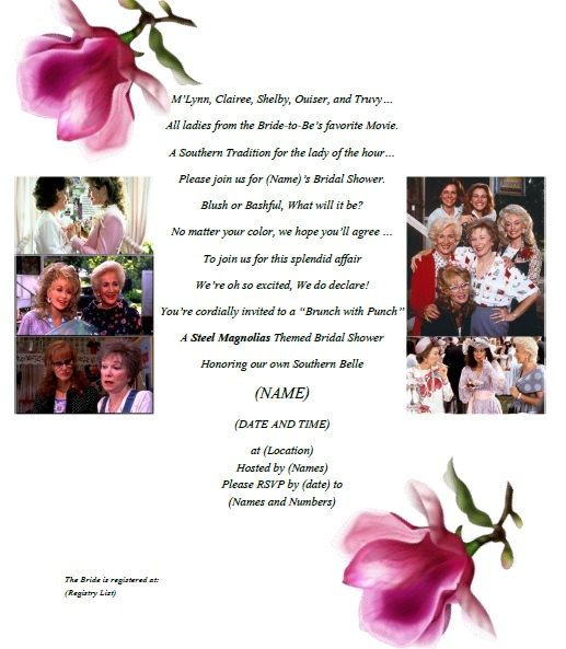 Steel Magnolias Bridal Shower Invitation by PartyChickie on Etsy, $15.00