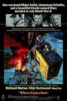 Where Eagles Dare (1968) is a World War II action-adventure spy film starring Richard Burton, Clint Eastwood and Mary Ure. It was directed by Brian G. Hutton and shot on location in Upper Austria and Bavaria.  Alistair MacLean wrote the novel and the screenplay at the same time. It was his first screenplay; both film and book became commercial successes. The production hired some of the top moviemaking professionals and is considered a classic.