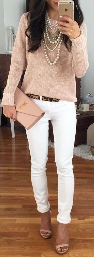 Office outfit idea | White pants + peach top + leopard belt