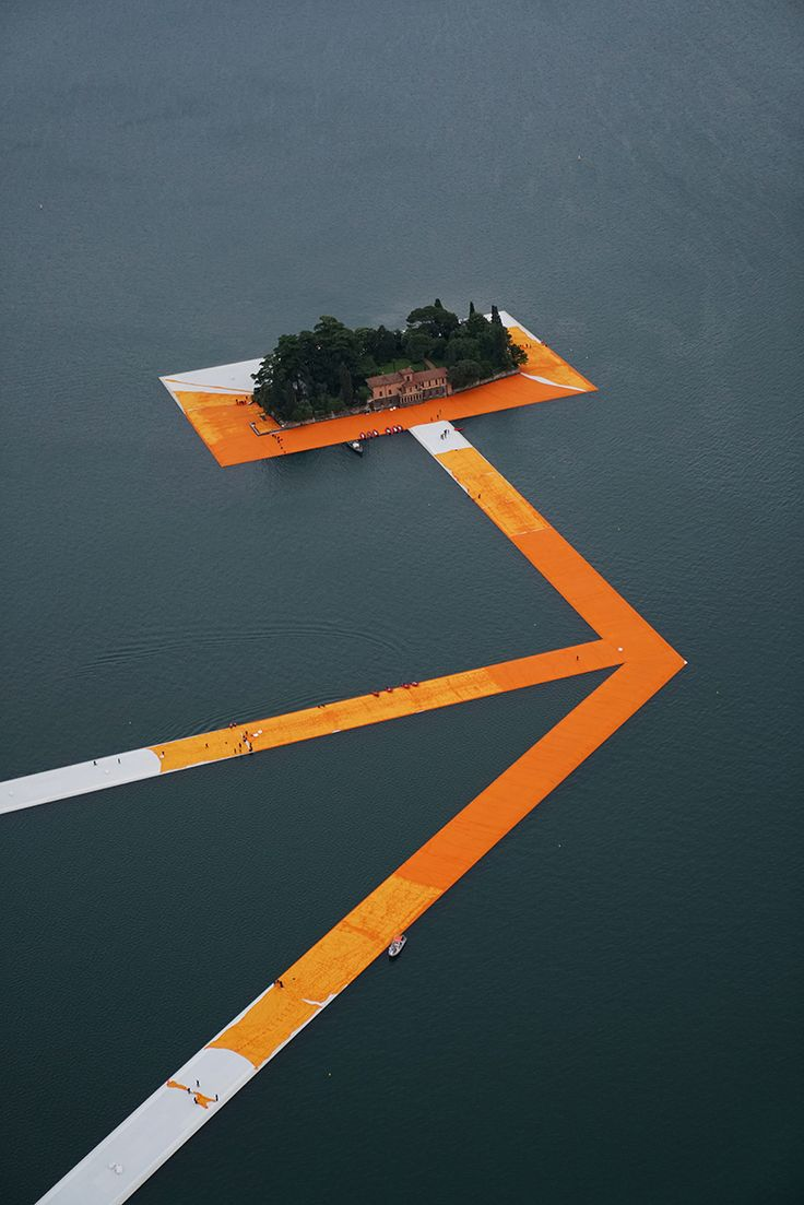 Wrapping the Floating Piers by Christo and Jeanne-Claude. Lake Iseo Montisola http://milanoarte.net/en/news/floating-piers-lake-iseo
