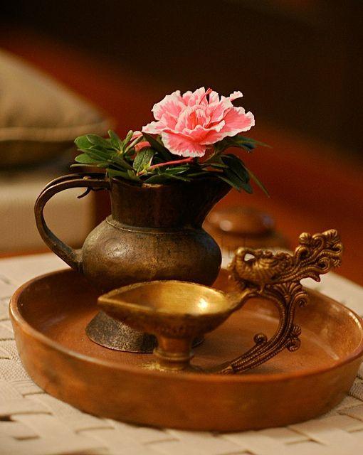 indian brass lamp on a platter